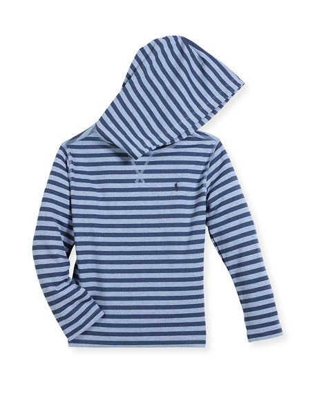 Ralph Lauren Childrenswear Stripe Waffle-Knit Hooded T-Shirt,