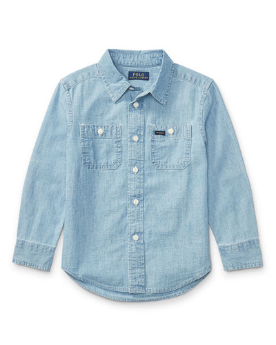 Long-Sleeve Chambray Work Shirt, Size 5-7