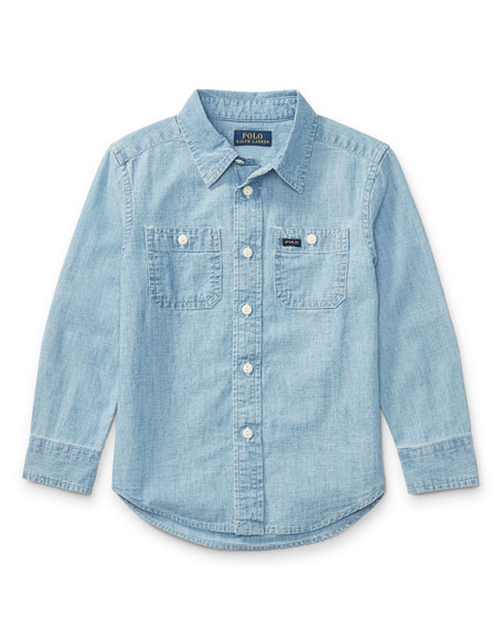 Ralph Lauren Childrenswear Long-Sleeve Chambray Work Shirt, Size