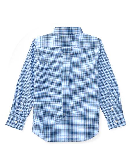 Poplin Plaid Button-Down Shirt, Blue, Size 5-7