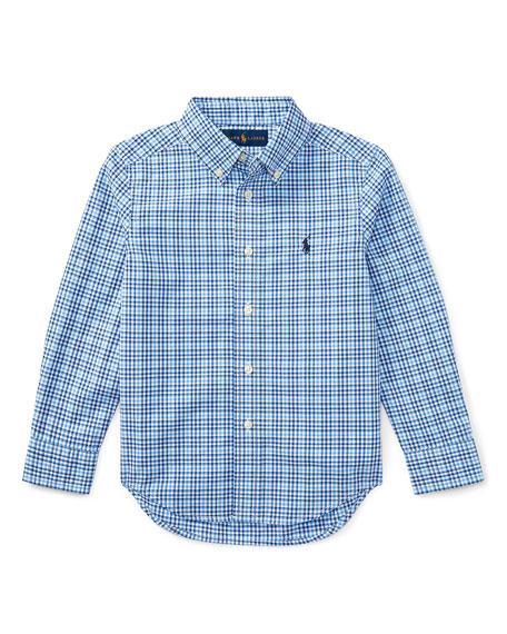 Ralph Lauren Childrenswear Poplin Plaid Button-Down Shirt, Blue,