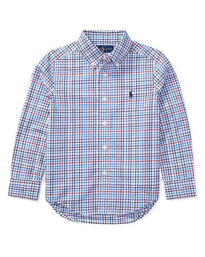 Poplin Plaid Button-Down Shirt, Blue/Red, Size 5-7
