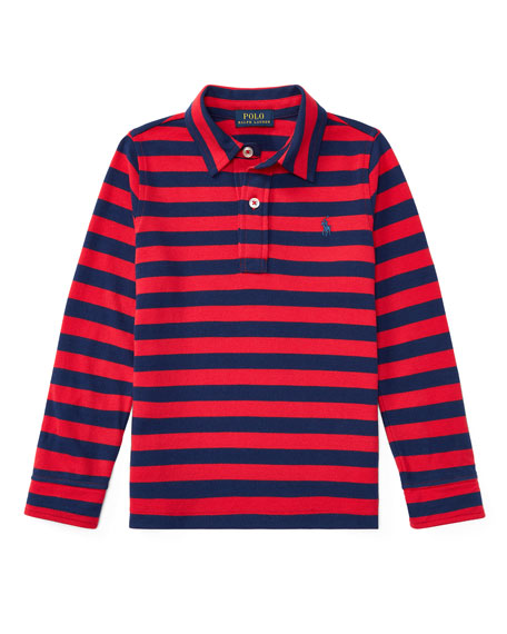 Ralph Lauren Childrenswear Long-Sleeve Striped Polo, Size 5-7