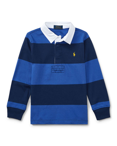 Ralph Lauren Childrenswear Jersey Rugby Striped Polo, Blue,