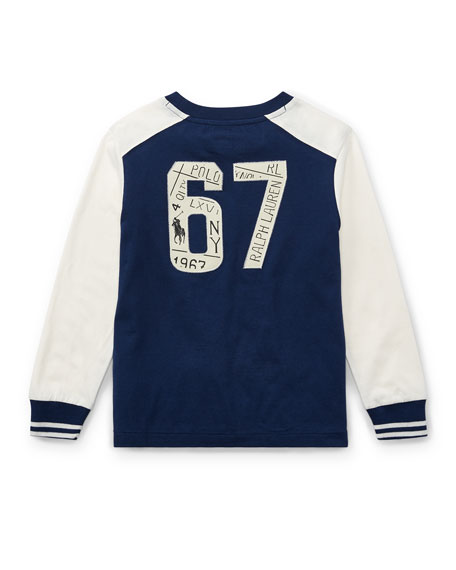 Two-Tone Logo Jersey T-Shirt, Size 5-7