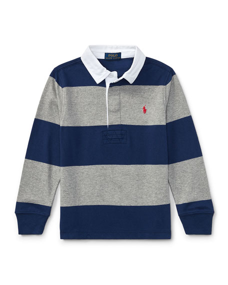 Ralph Lauren Childrenswear Jersey Rugby Striped Polo, Blue/Gray,