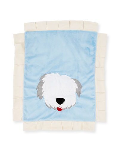 Pup Love Plush Baby Blanket, Blue