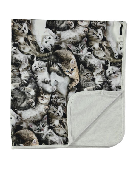 Molo Neala Reversible Cat Blanket, Gray