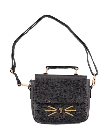 Girls' Faux-Leather Cat Handbag, Black