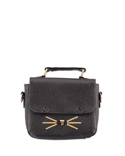 Girls' Faux-Leather Cat Handbag, Black