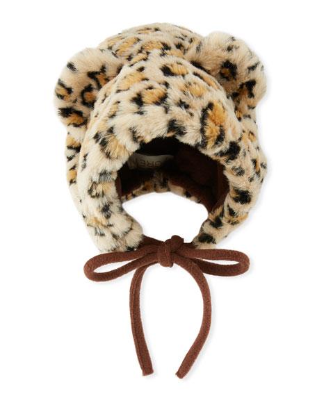 Kids' Faux-Fur Leopard Bonnet Hat