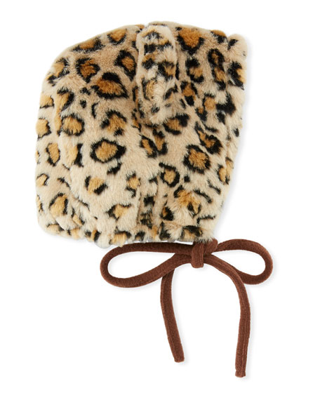 Grevi Kids' Faux-Fur Leopard Bonnet Hat