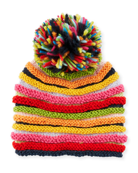 Stripe Knit Beanie Hat w/ Pompom, Multicolor