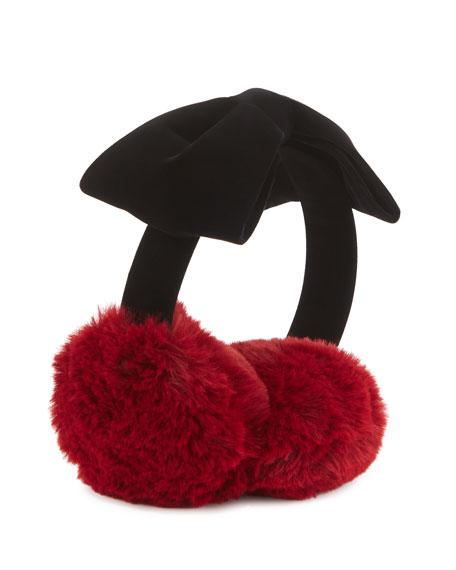 kate spade new york kids' faux-fur cherry earmuffs