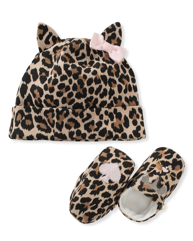 b0a14891bfc3 kate spade new york leopard-print baby hat & mary jane crib shoe set ...