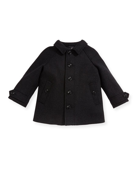 Burberry Bensham Wool-Blend Coat, Gray, Size 12M-3Y