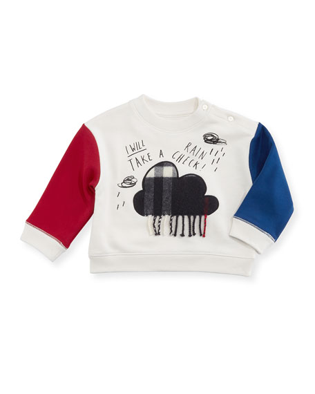 Burberry Rain Check Colorblock Sweatshirt, Size 6M-2Y