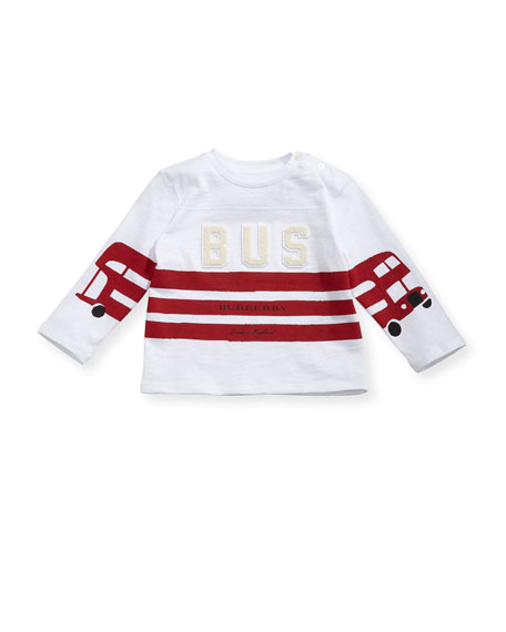 Burberry Long-Sleeve Herbie Bus Graphic Tee, Size 6M-3Y