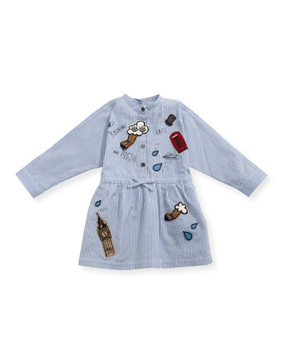 Cristy Mixed-Patches Dress, Size 6M-3Y