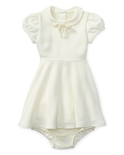 Crepe Fit-and-Flare Dress w/ Bloomers, Size 9-24 Months