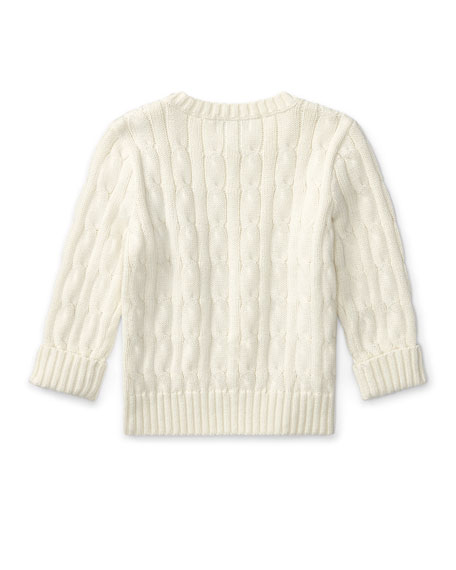 Cable-Knit Combed Cotton Sweater, Cream, Size 9-24 Months