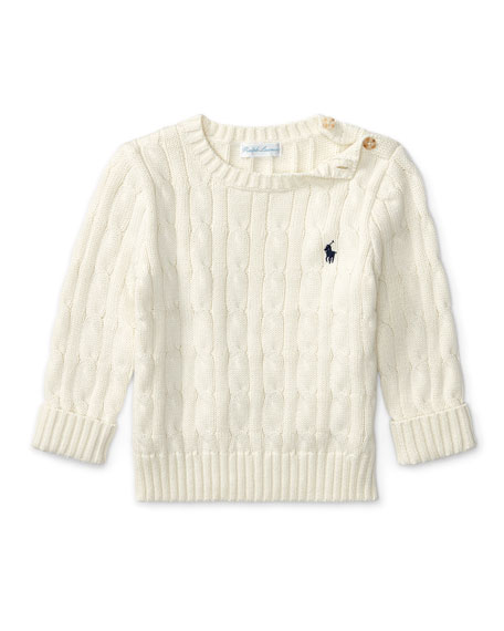 Ralph Lauren Childrenswear Cable-Knit Combed Cotton Sweater,
