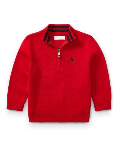 Half-Zip Cotton Pullover, Red, Size 9-24 Months