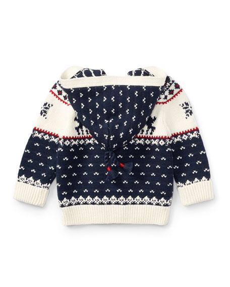 Cotton-Wool Blend Reindeer Hooded Sweater, Size 9-24 Months