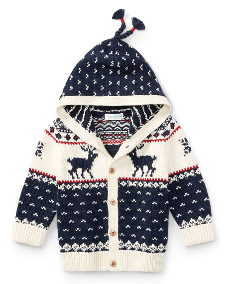 Ralph Lauren Childrenswear Cotton-Wool Blend Reindeer Hooded