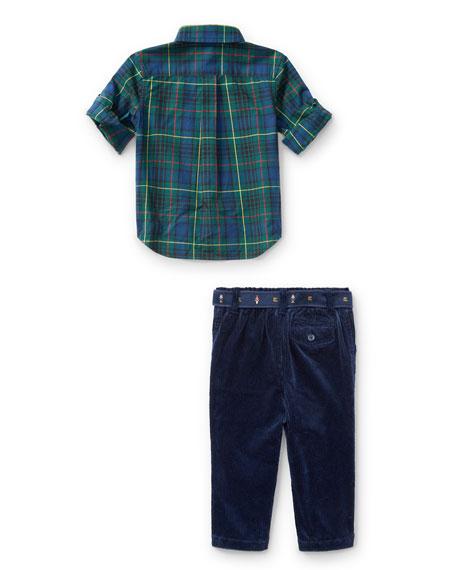 Poplin Tartan Shirt & Pants Set, Green, Size 9-24 Months