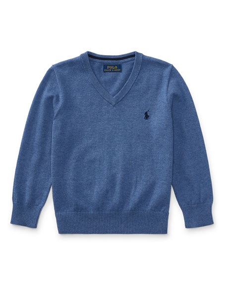 Long-Sleeve V-Neck Sweater, Blue, Size 2-4