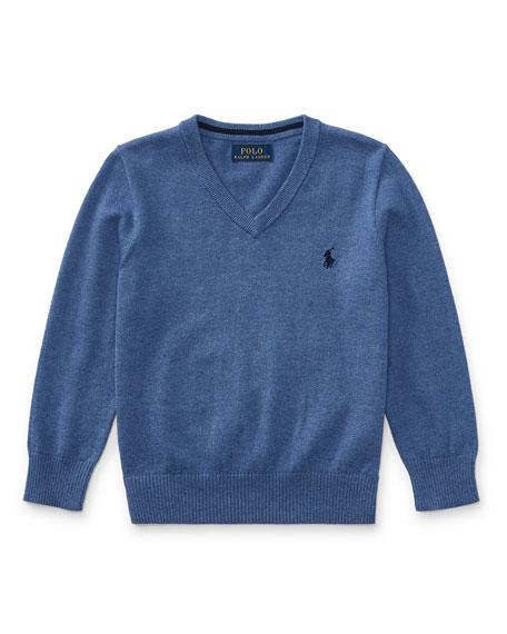 Ralph Lauren Childrenswear Long-Sleeve V-Neck Sweater, Blue, Size