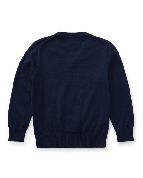 Long-Sleeve V-Neck Sweater, Navy, Size 2-4
