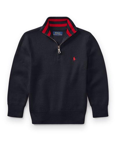 Half-Zip Cotton Pullover, Navy, Size 2-4