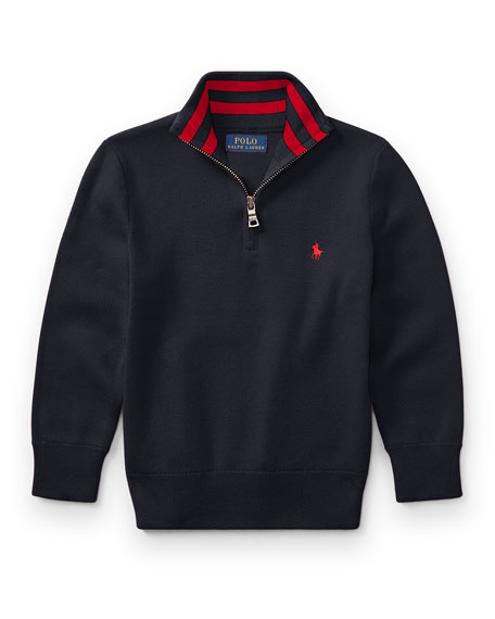 Ralph Lauren Childrenswear Half-Zip Cotton Pullover, Navy, Size