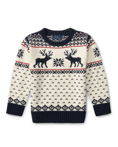 Reindeer Knit Sweater, Size 2-4