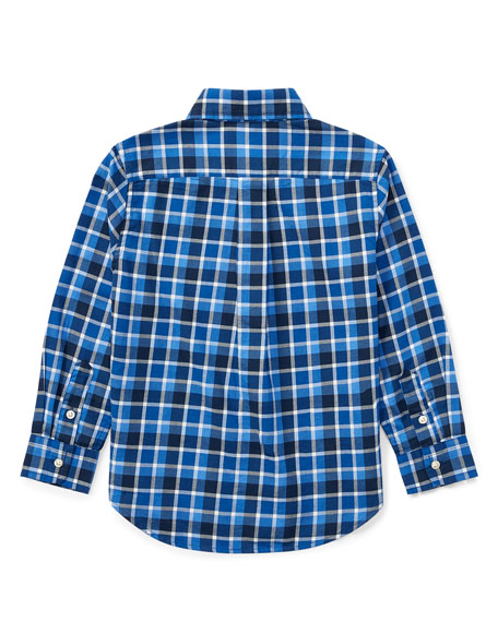 Twill Plaid Button-Down Shirt, Blue, Size 2-4