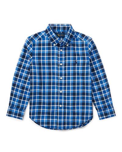 Twill Plaid Button-Down Shirt, Blue, Size 2-4