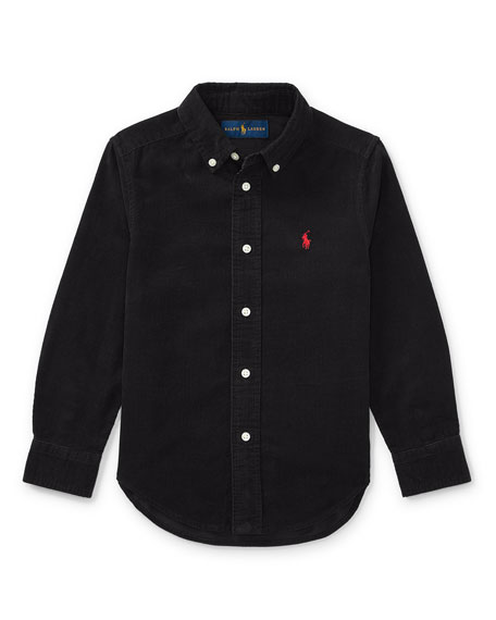 Elbow-Patched Corduroy Collared Shirt, Size 2-4