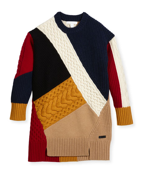 Burberry Claire Colorblock Mixed-Knit Sweater Dress, Size 4-14