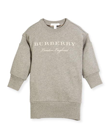 Burberry Soure Logo Sweatshirt Dress, Size 4-14