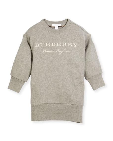 Burberry Soure Logo Sweatshirt Dress, Size 4-14