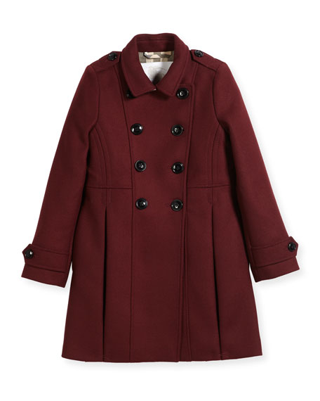 Frieda Double-Breasted Wool-Blend Coat, Size 4-14