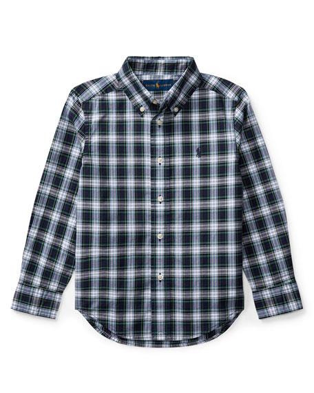 Poplin Plaid Button-Down Shirt, White Pattern, Size 2-4