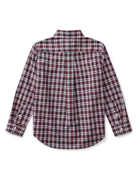 Poplin Plaid Button-Down Shirt, Red Pattern, Size 2-4