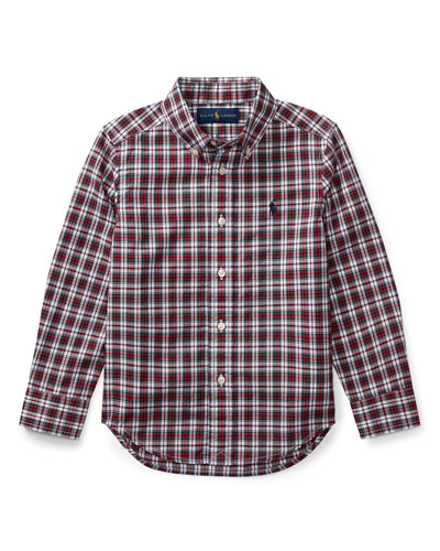 Poplin Plaid Button-Down Shirt, Red Pattern, Size 2-4