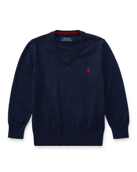 Ralph Lauren Childrenswear Long-Sleeve V-Neck Sweater, Navy, Size