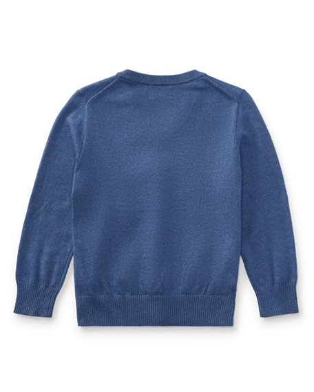Long-Sleeve V-Neck Sweater, Blue, Size 5-7