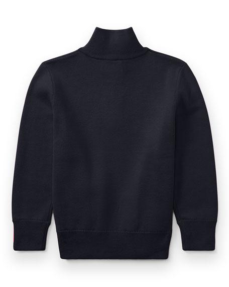 Half-Zip Cotton Pullover, Navy, Size 5-7