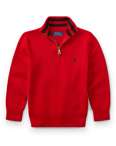Half-Zip Cotton Pullover, Red, Size 5-7